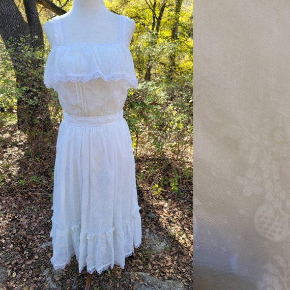 Vintage Gunne Sax Dress 7 XS Small Sundress White