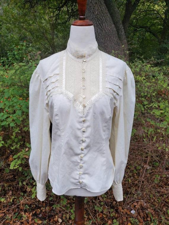 Vintage Gunne Sax 13 medium white button-up blouse