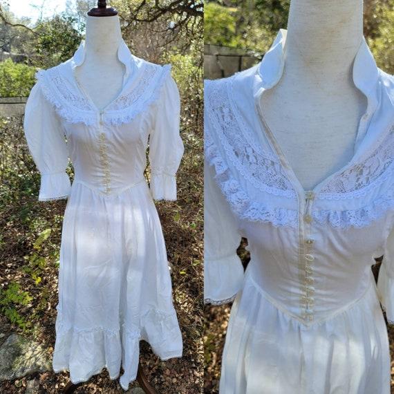 Vintage Gunne Sax Dress 9 11 Small White Lace 70s