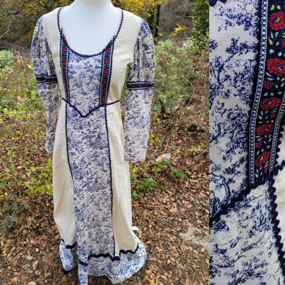 Vintage Gunne Sax 13 Dress Toile Maxi Dress Blue W