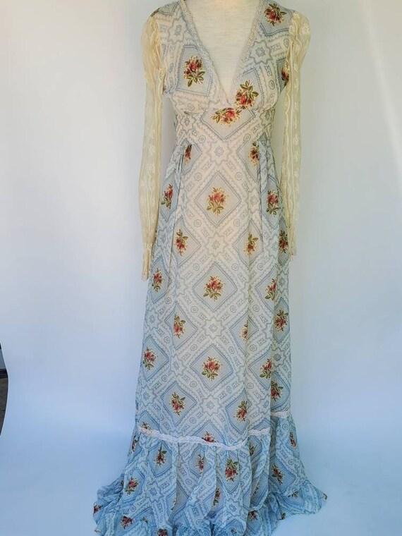 Gunne Sax 7 xs dress maxi dress blue floral dimano