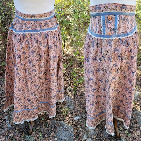 Vintage Gunne Sax skirt XS Small 5 7 9 Dusty Rose