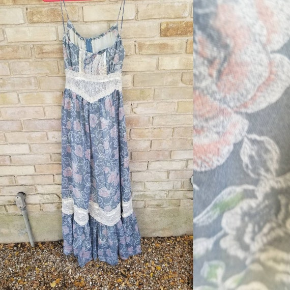 Vintage gunne sax dress xs small blue purple flora