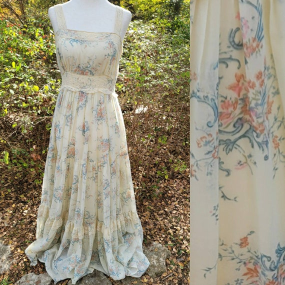 Vintage Gunne Sax Dress 13 Medium Creme White Blue