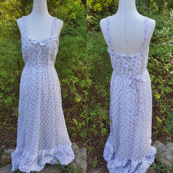 Vintage Gunne Sax Dress 13 medium 70s white pink f
