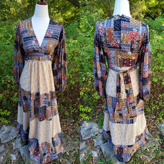 Vintage 70s maxi dress XS small patchwork floral … - image 1