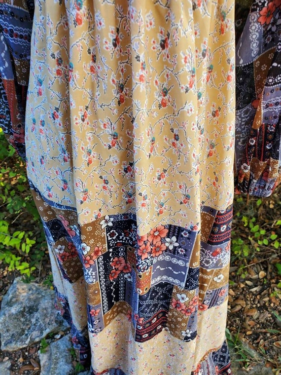 Vintage 70s maxi dress XS small patchwork floral … - image 7