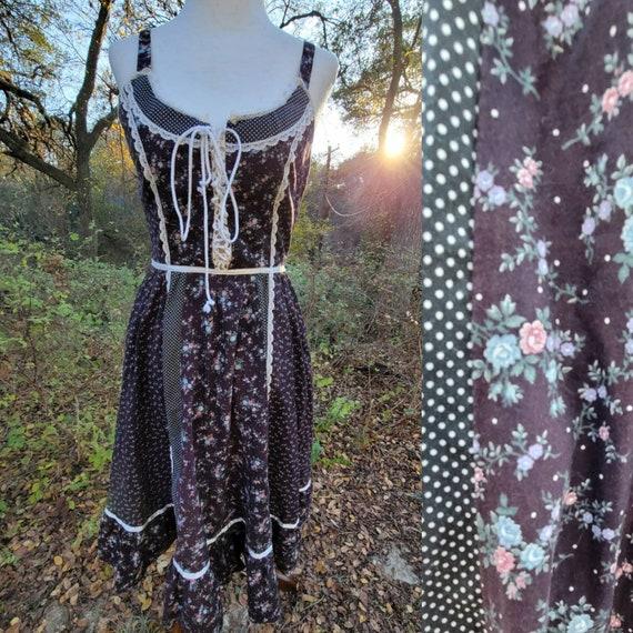 Vintage Gunne Sax 5 Dress XS Small Black Floral Gr