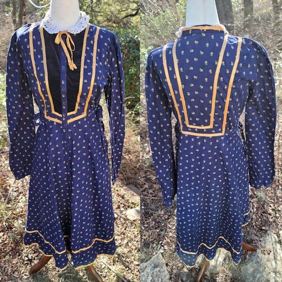 Vintage Gunne Sax Dress 13 Small Medium Sapphire B