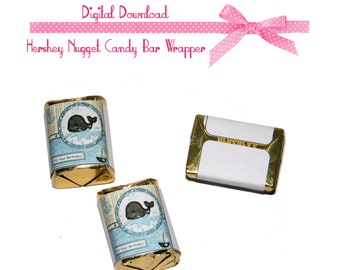 Whale Birthday Design Chocolate NUGGETS Candy Wrappers Party Favors Instant Download