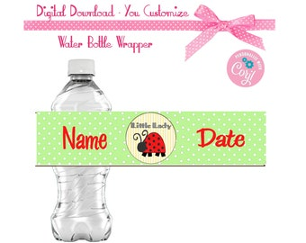Ladybug Girls Birthday Favors Water or Soda Bottle Label 8 1/2 x 2 inches INSTANT DOWNLOAD Printable File