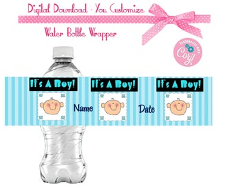 Its a Boy! Baby Shower Favors Water or Soda Bottle Label 8 1/2 x 2 inches EMAILED Digital File Link to Printable File