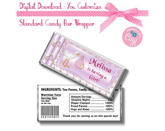 Pink Stork Baby Shower Girl Theme Custom 1.55 oz Standard Size Candy Bar Wrapper Instant Download -  -YOU PERSONALIZE IT