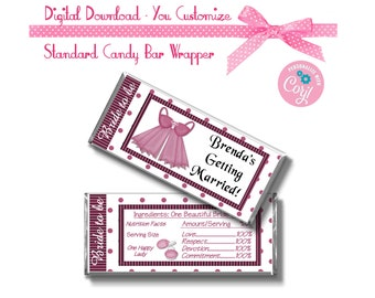 Bachelorette Party Bridal Shower Custom 1.55 oz Standard Size Candy Bar Wrapper Party Favors Instant Download -  -YOU PERSONALIZE IT