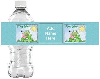 """Frog """"juice"""" Birthday Favors Water or Soda Bottle Label 8 1/2 x 2 inches INSTANT DOWNLOAD Printable File - YOU Personalize it."""
