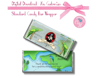Pirate Theme Custom 1.55 oz Standard Size Candy Bar Wrapper Instant Download -YOU PERSONALIZE IT