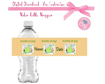 Bundle of Joy - Baby Shower Favors Water or Soda Bottle Label 8 1/2 x 2 inches INSTANT DOWNLOAD Printable File
