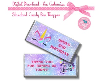Pastel Unicorn Custom 1.55 oz Standard Size Candy Bar Wrapper Instant Download Birthday Party Favors -YOU PERSONALIZE IT