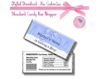 Blue Ruffle Baby Shower Boy Theme Custom 1.55 oz Standard Size Candy Bar Wrapper Instant Download -  -YOU PERSONALIZE IT