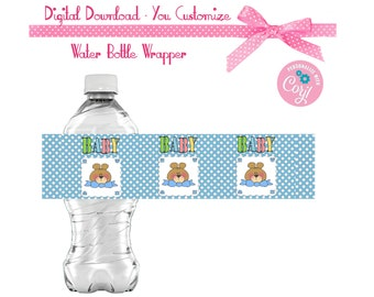 Baby Bears - Baby Shower Favors Water or Soda Bottle Label 8 1/2 x 2 inches INSTANT DOWNLOAD - You Personalize
