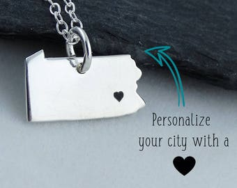 Pennsylvania State PA Map Pendant Necklace in 925 Sterling Silver