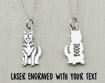 Solid 925 Sterling Silver Laser Dog Name Pendant Charm