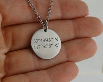 """Personalized Coordinates Location Engraved Necklace - Stainless Steel - Special Location Place Longitude Latitude, 18"""""""