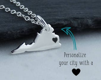 Personalized Virginia State Charm Necklace with Engraved Heart Near Your City - 925 Sterling Silver