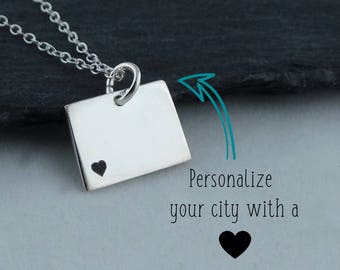 Wyoming Necklace Wyoming Keychain Personalized Jewelry Hand Stamped Necklace Long Distance Relationship State Necklace Map Necklace