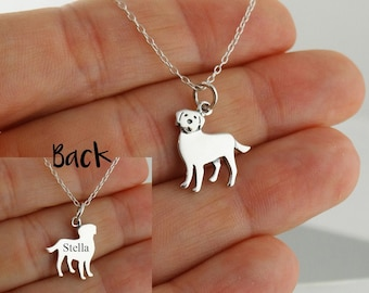 """Personalized Labrador Retriever Necklace - 925 Sterling Silver- Engraved Custom Dog Name, Initials, Dates 18"""" Chain"""