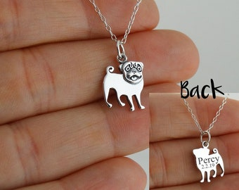Pug Cute Doghouse Pendant Necklace  Gold-Plated Silver-Plated or Sterling Silver  Perfect Gift for Dog Lovers and Owners