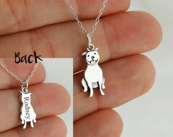 """Personalized Pit Bull Necklace - 925 Sterling Silver- Engraved Custom Dog Name, Initials, Dates 18"""" Chain"""