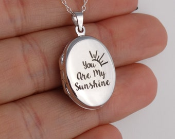Custom Laser Engraved Initial or Date 925 Sterling Silver 18 Sterling Chain Personalized Dainty 2 Photo Locket Necklace