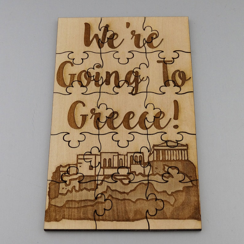 Basswood Lasered Jigsaw Puzzle Fun Kids Put Together Surprise Trip Vacation We/'re Going To Greece Puzzle