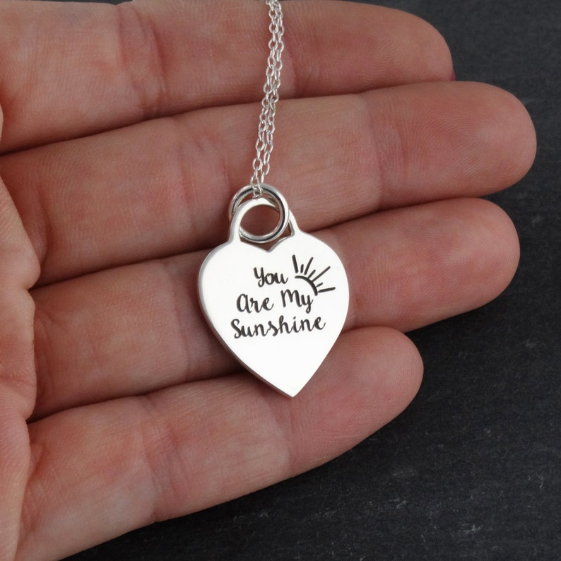 032c9d8f29bcc0 You Are My Sunshine My Only Sunshine Engraved Heart Necklace | Etsy