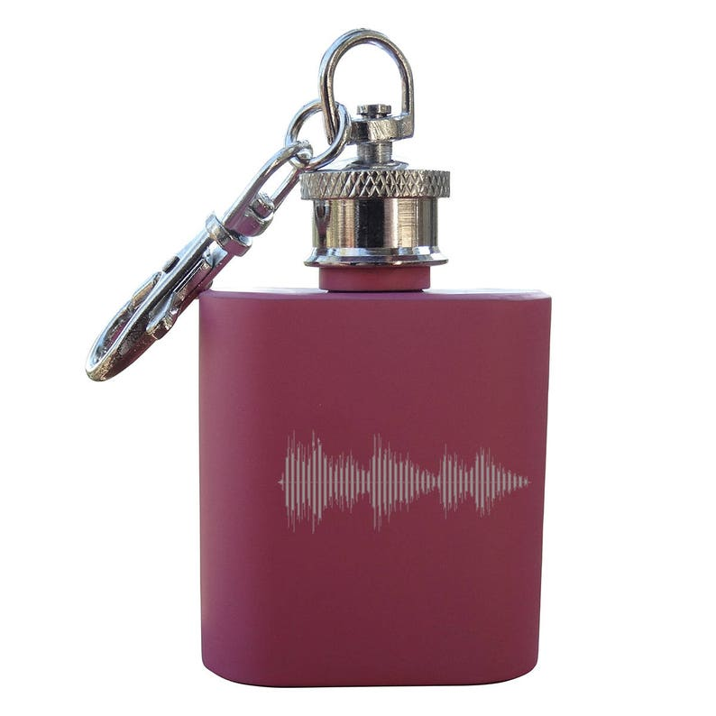 1oz Matte Pink Stainless Bachelorette Party Bridesmaid Maid of Honor Personalized Audio File Mini Flask Key Chain