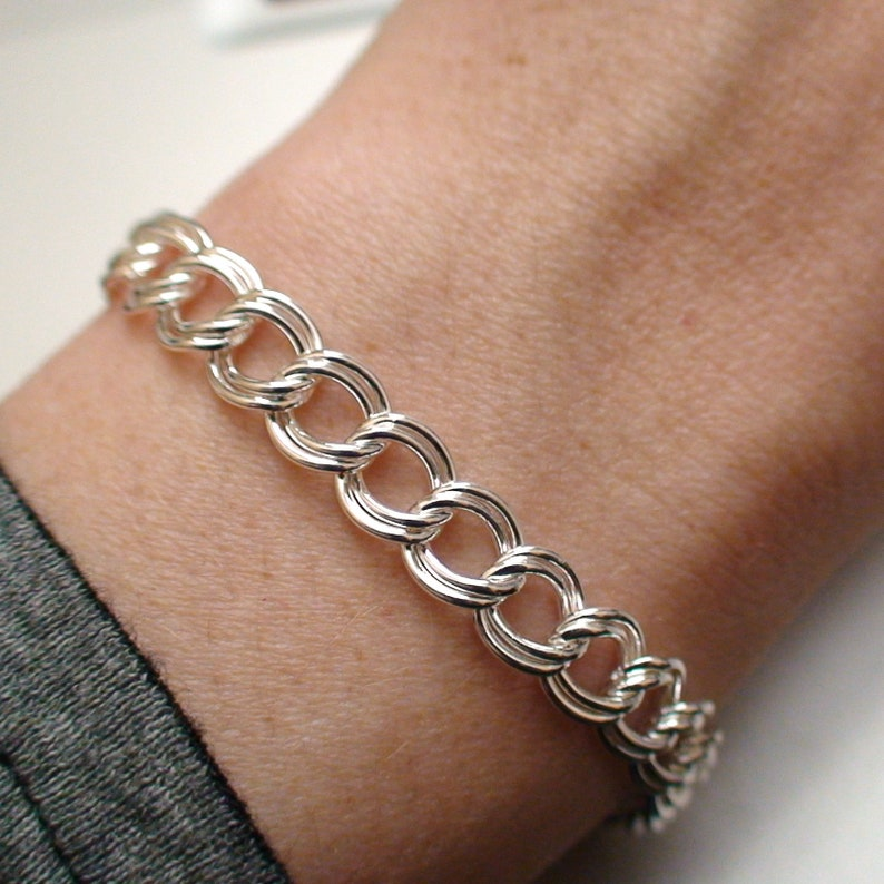 6.9mm wide 7 or 8 Sterling Silver Double Link Charm Bracelet Lobster Claw Clasp