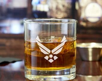 2pcs - US Air Force - Engraved Whiskey Glasses - Rocks Glasses - DGI154-RG10OZ