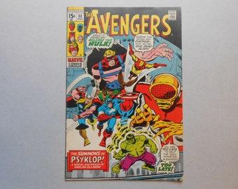 Avengers #88; 1st Psyklop; Hulk shrunk into the Microverse; Harlan Ellison; H. P. Lovecraft; Hulk; Thor; Iron Man; Silver Age; Very Good +!