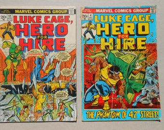 Luke Cage; Hero for Hire #4 #12; 1970s;Comic lot 2; MIsty Knight; Chemistro; Phantom; First Series; NetFlix; Spider-Man; Collectible Comics!