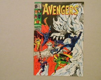 Avengers #61; Black Panther; Dr.Strange; Vision; Hawkeye; Black Knight; First Avengers' Quinjet; Sons of Satannish; Silver Age; Key Comic!
