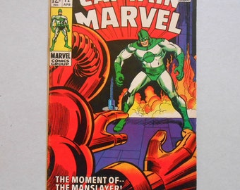 Captain Marvel #12; Silver Age; Black Widow; First Captain Marvel; Captain Marvel vs Manslayer; Captain Marvel Movie; Classic Key Comic!
