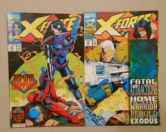X-Force #23 and #25: Deadpool; Cable; Domino; Blue Hologram Card Cover; Domino Vs Deadpool Cover; Deadpool 2 Movie; Key Comics!