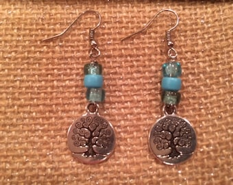 Silver Tree of Life Earrings Silver and Turquoise Dangle Earrings Drop Earrings Handmade Gift Silver Lining Collection Free US Shipping