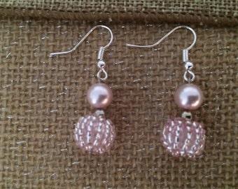 Light Pink Earring Beads and Pearl Dangle Earrings Gift Handmade Elegant Women  Fancy That Free Us Shipping