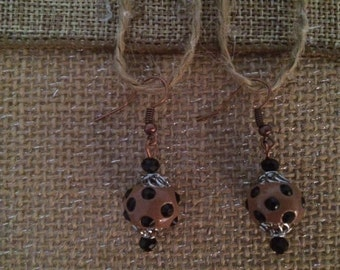 Black Brown Earrings Cheetah Earrings Copper Earrings Dangle Earrings Handmade Earrings Artisan Crafted Jewelry Free US Chipping