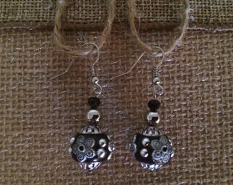 Black and Silver Earrings Ornamental Ball Dangle Earrings Asian Flair Jewelry Fashion Earrings ZoeRiver Handmade Earrings Free US Shipping