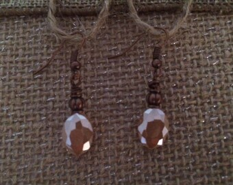 Champaign Pink Earrings Faceted Oval Earrings Multi Facets Copper Earrings Handmade Jewelry ZoeRiver Dangle Anything Goes Free US Shipping