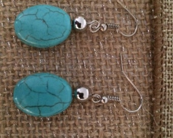 Turquoise and Silver Earrings Dangle Earrings Classic Turqoise Handcrafted Gift Unique Free US Shipping
