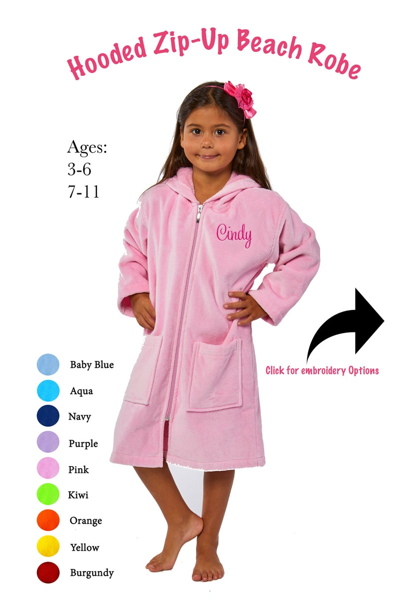Hooded Zip Up Beach Robe for Kids Parador® Personalized  414041c2b